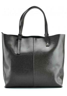 Фото Кожаная сумка женская шопер серая Grays