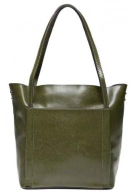 Кожаная женская сумка Grays GR-2013GR зеленая