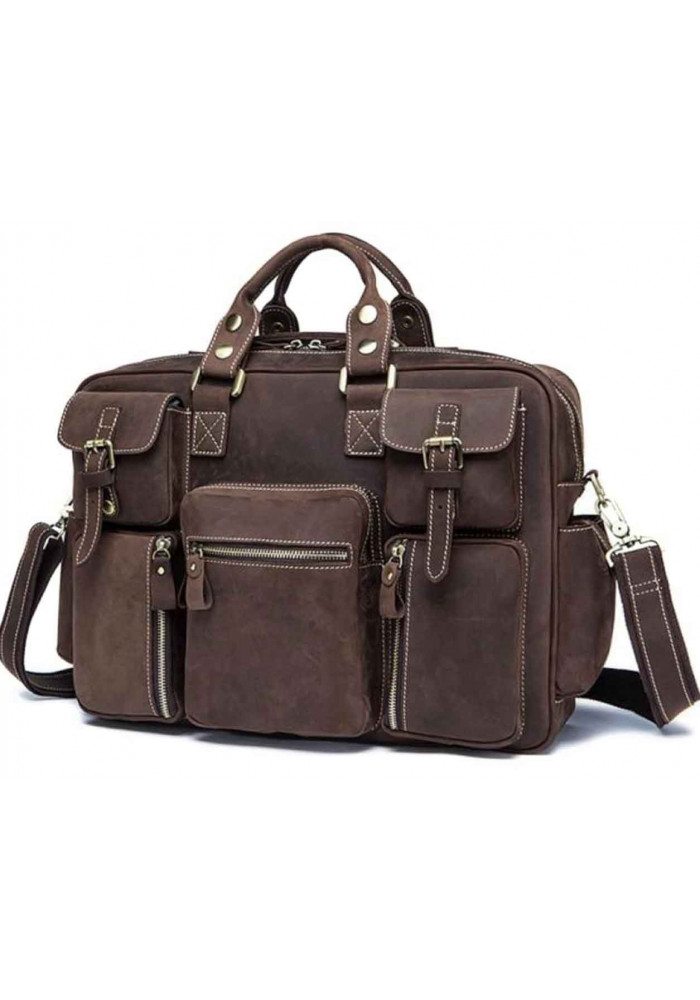 Кожаная мужская дорожная сумка TIDING BAG 7028B
