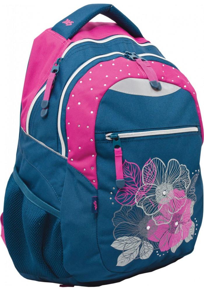 """Рюкзак для подростка бирюзовый YES """"Flowers"""" T-23"""