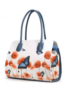 Фото Белая женская сумочка с цветами и бабочками на лето