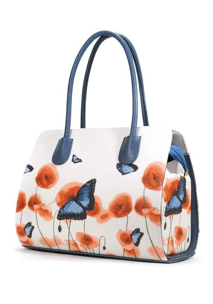 Белая женская сумочка с цветами и бабочками на лето