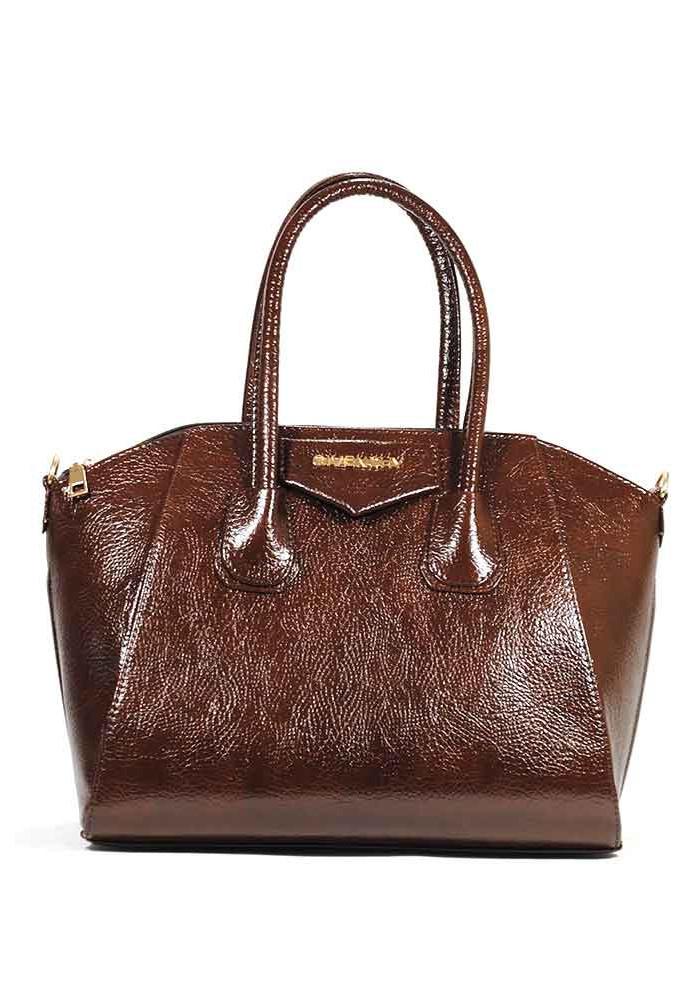 Женская сумка коричневая глянцевая Givenchy 35-DIEGO-BRN