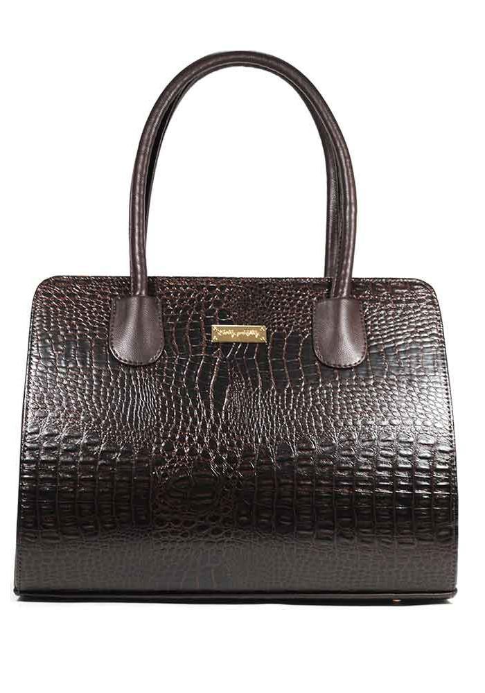 Женская сумка каркасная коричневая 95-4M-BRN