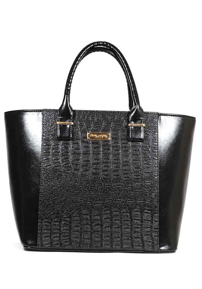 Женская сумка тоут черный крокодил 44-M51-1209