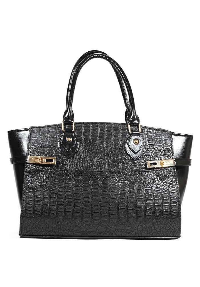 Женская сумка шопер черный крокодил 01-M51