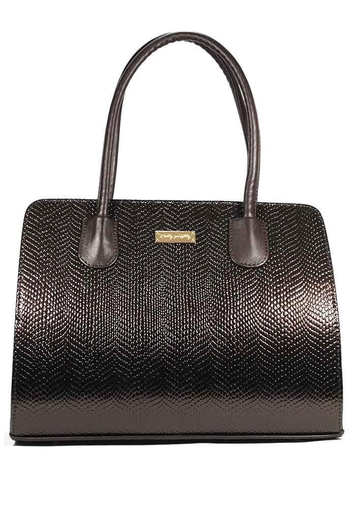 Фото Женская сумка каркасная коричневая лаковая 95-KB1548
