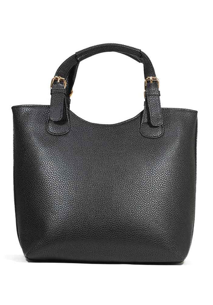 Женская сумка шопер черная матовая 48-P001