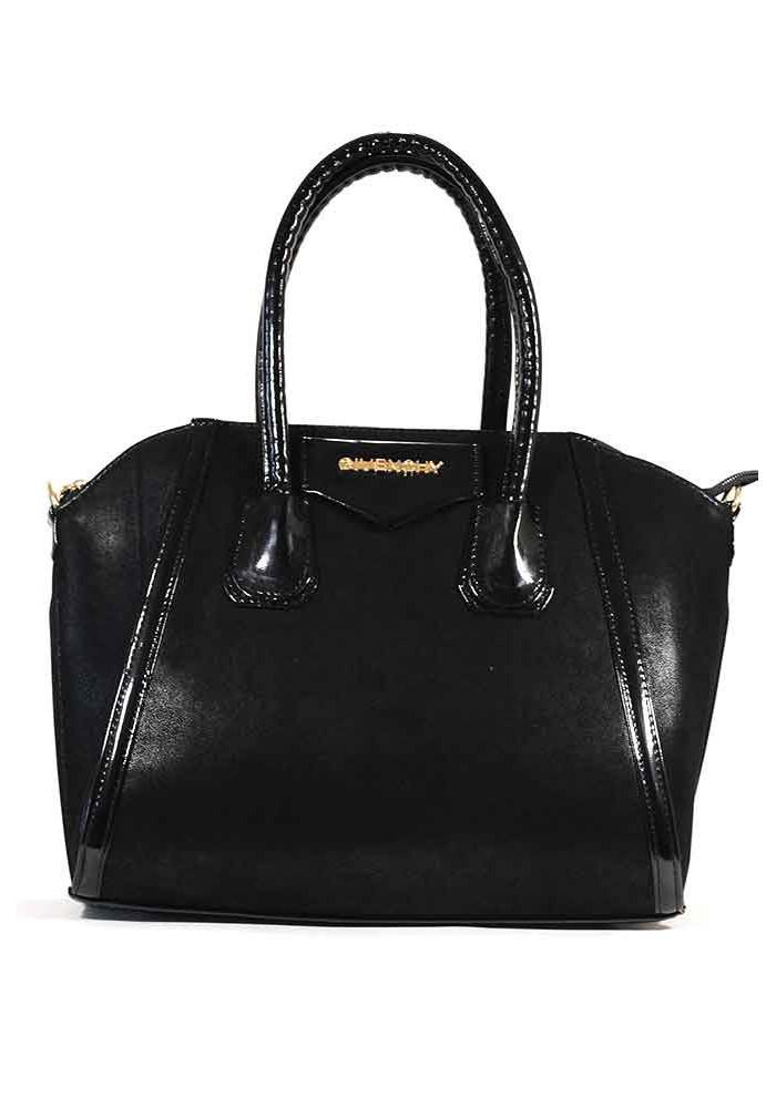 Фото Женская сумка черная велюровая 35-1123-LAK