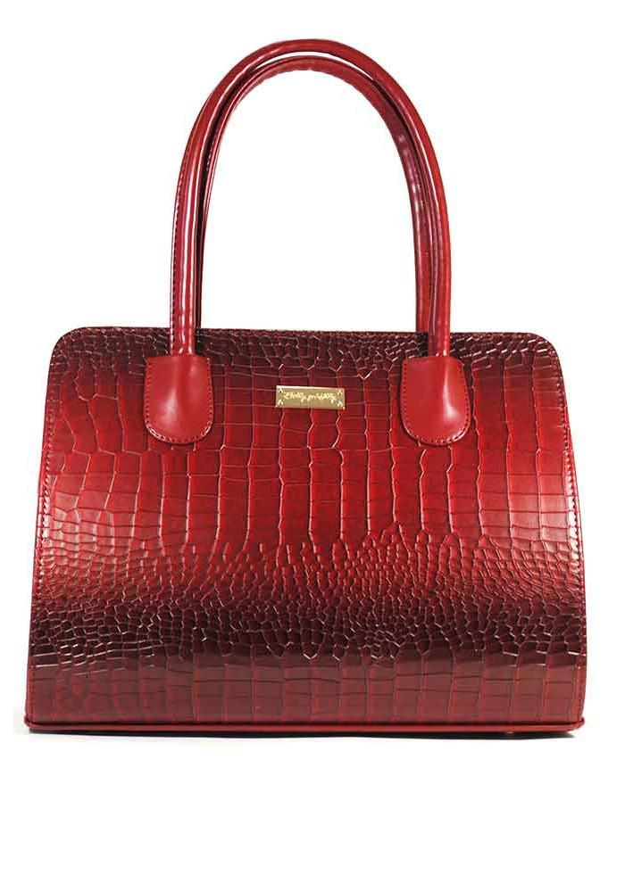 Женская каркасная красная сумка 95-1229-1230
