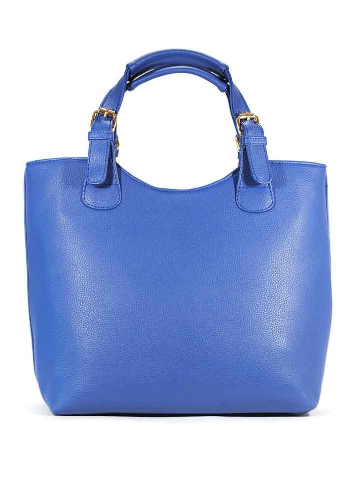 Фото Женская сумка шопер синяя матовая 48-1143