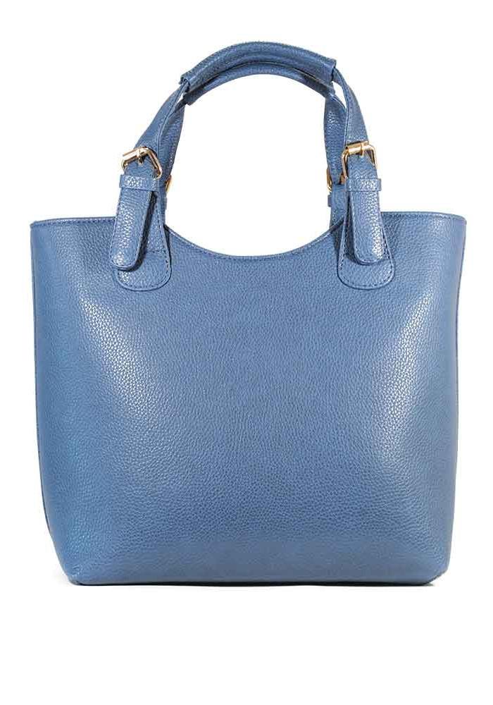 Женская сумка шопер синяя матовая 48-1206