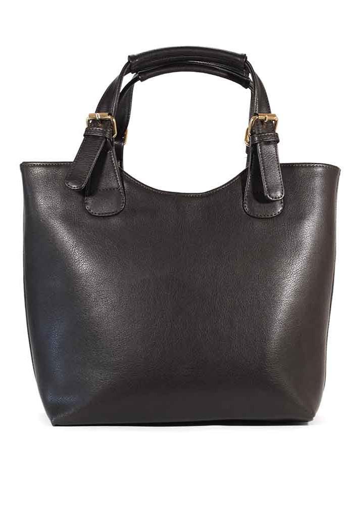 Фото Женская сумка шопер синяя матовая 48-BROWN