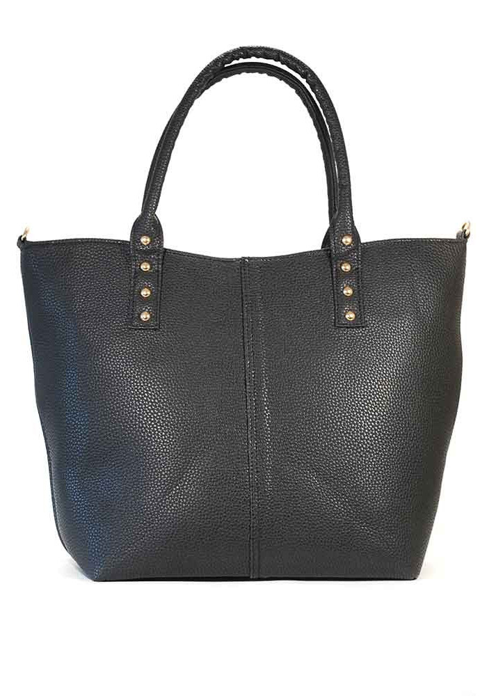 Женская сумка шопер черная матовая 06-1207