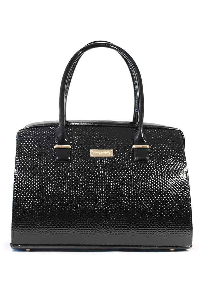Фото Женская сумка лаковая черная 12P-1250