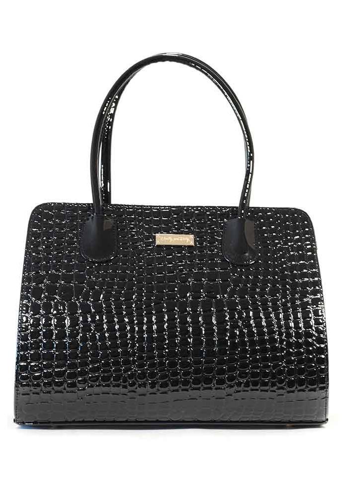 Черная лаковая женская сумка 95P-KROKO-BLK