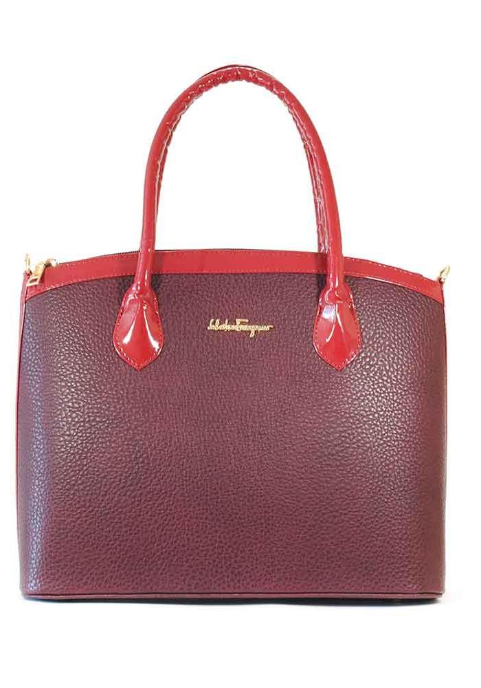 Фото Женская бордовая матовая сумка тоут 37-BORDO