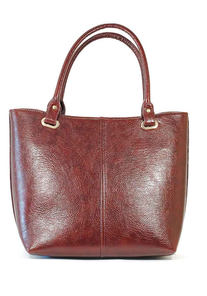 Женская сумка шопер глянцевая бордовая