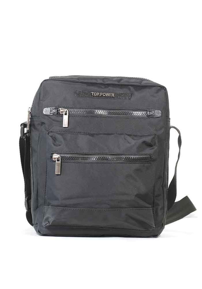 Фото Вертикальная черная мужская сумка через плечо Top Power 2303-01