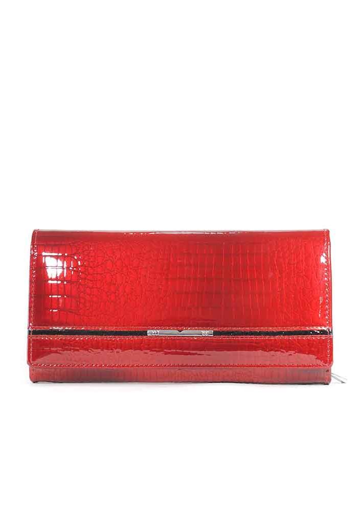 Красный лаковый женский кошелек