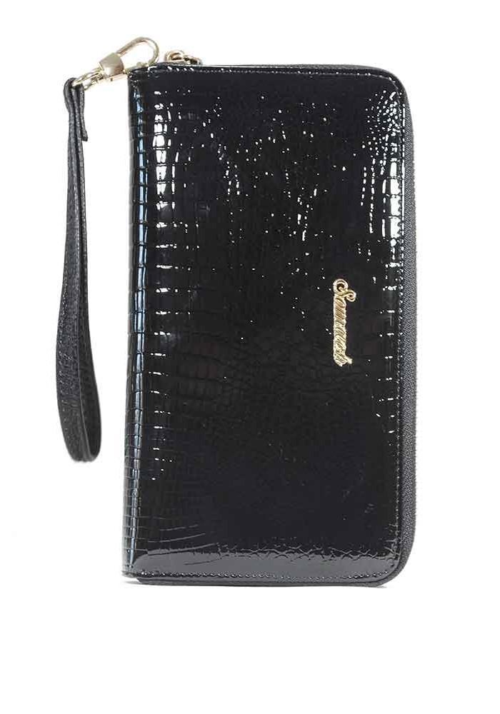 Черный лаковый женский кошелек с ручкой 7070-black