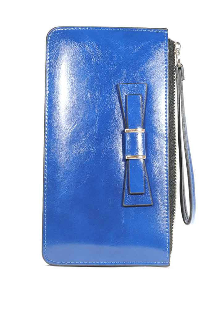 Синий женский кошелек с бантиком и ручкой 838-Y208-41