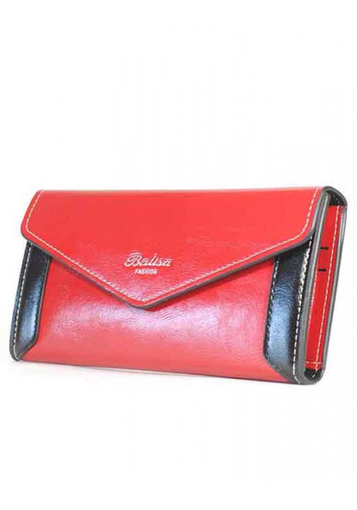 Фото Красный женский кошелек с черными вставками Balisa