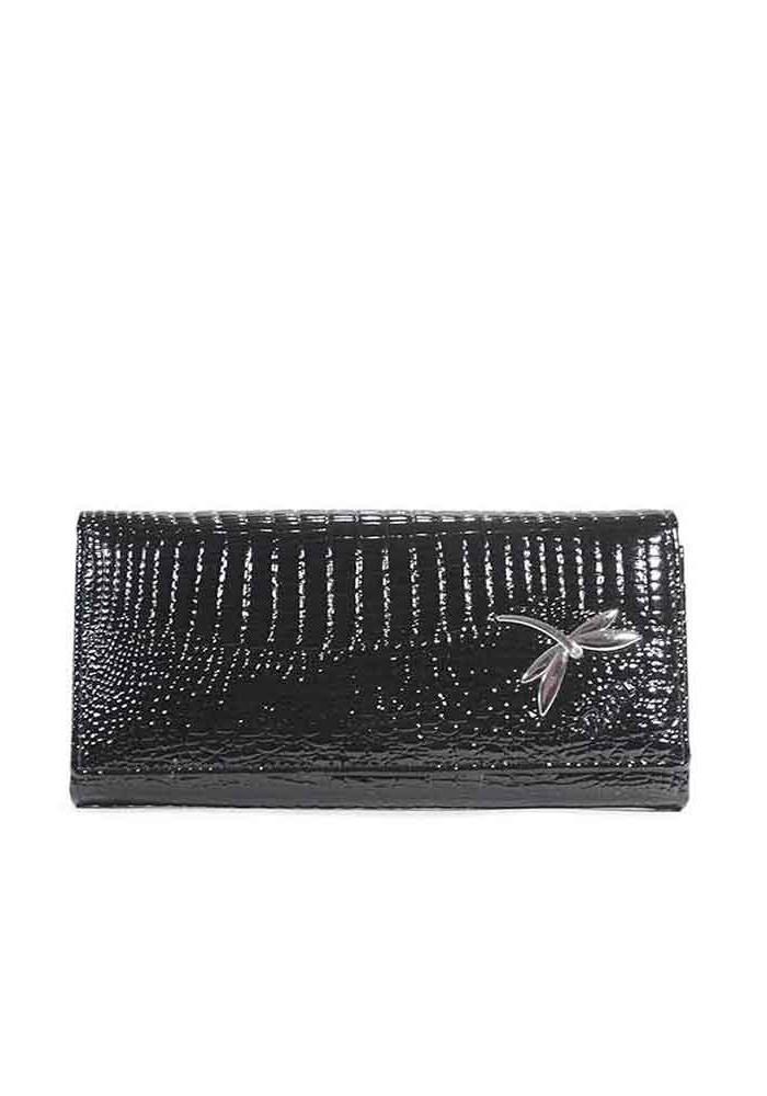 Черный лаковый кожаный женский кошелек Balisa C826-QB2