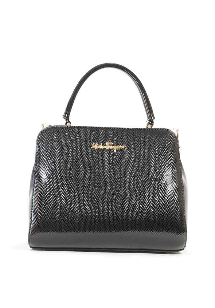 Черная лаковая женская сумка Salvadore Ferragamo 03-1251