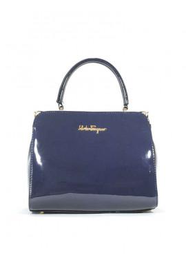 Фото Синяя лаковая женская сумка Salvadore Ferragamo 03-BLUE-LAK
