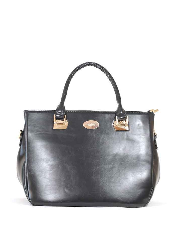 Черная глянцевая женская сумка на три отделения 58-1262