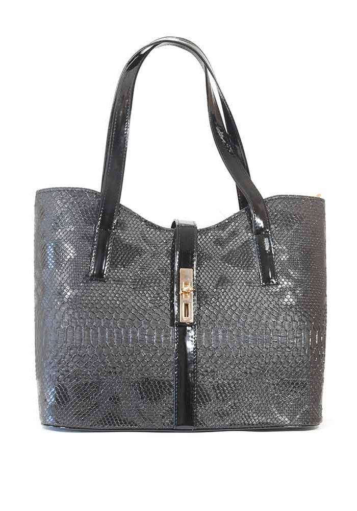 """Женская сумка """"Лодочка"""" черного цвета с лаковыми вставками"""
