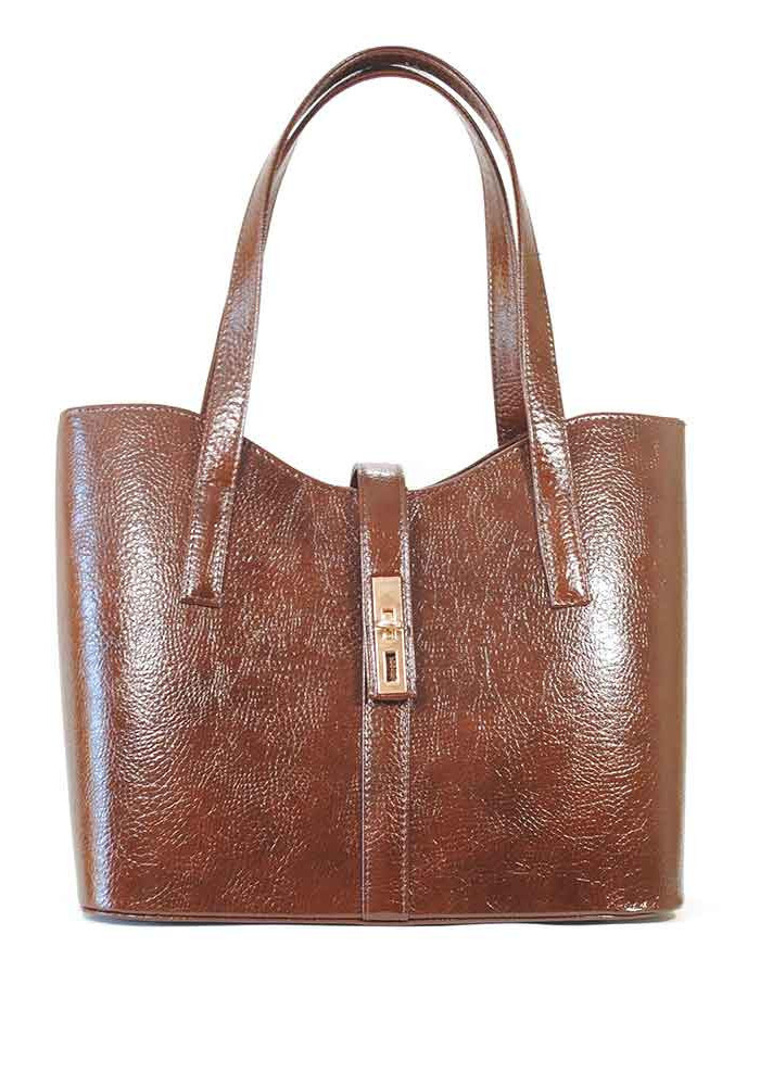 "Женская сумка ""Лодочка"" коричневая глянцевая 56-DIEGO"