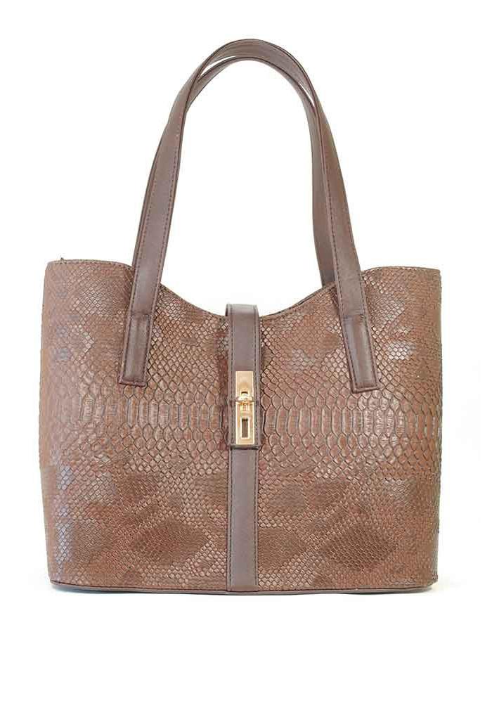 """Женская сумка """"Лодочка"""" коричневая 56-DRACON-BROWN"""