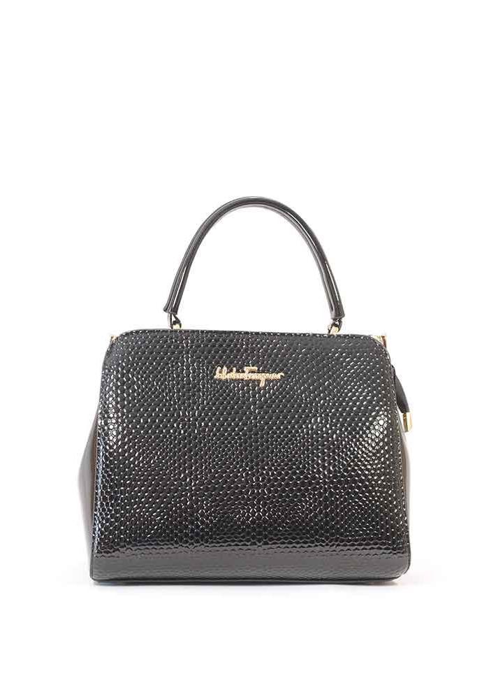 Фото Маленькая черная лаковая женская сумка 03-1250