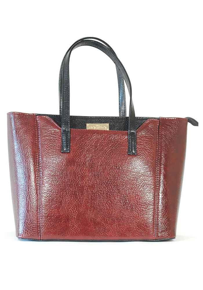 Бордовая женская сумка с широким дном 59-BORDO