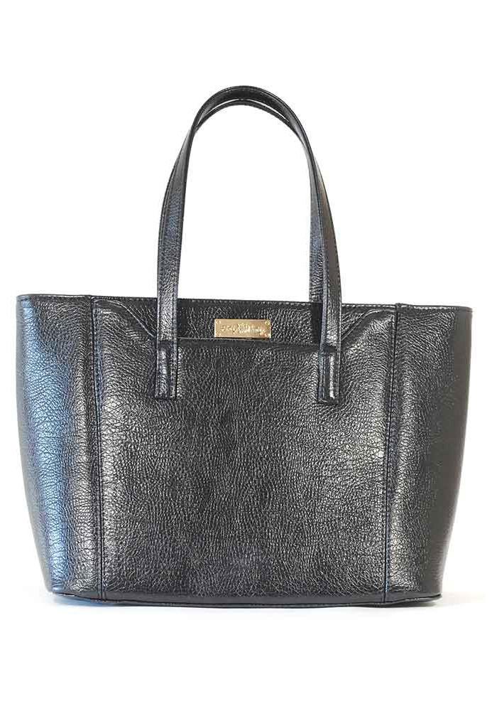 Черная женская сумка с широким дном 59-BLACK