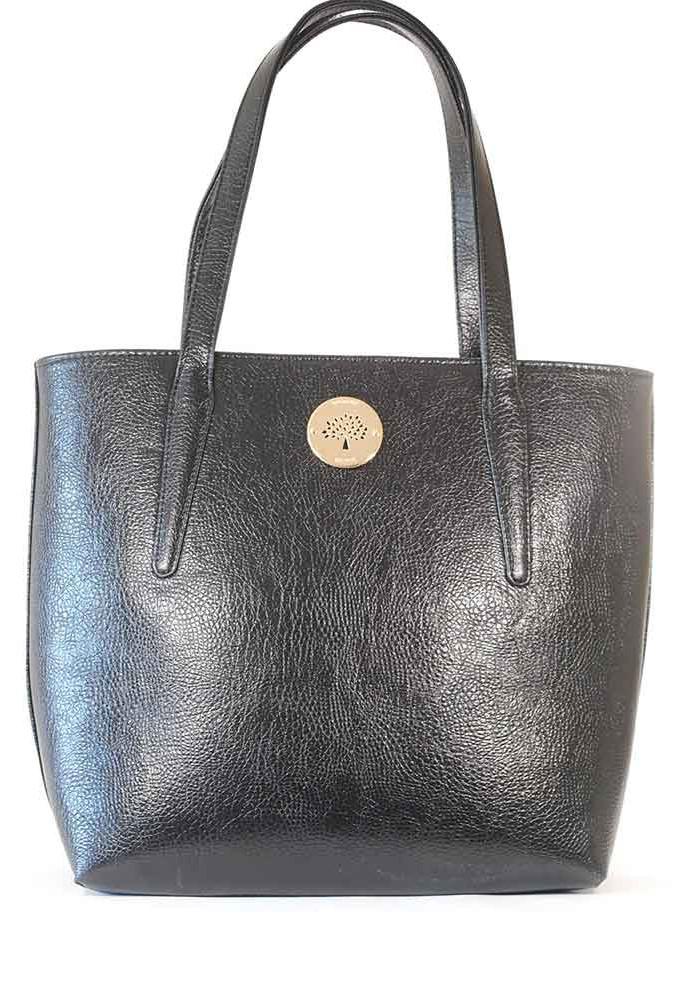 Фото Черная глянцевая женская сумка с длинными ручками 61