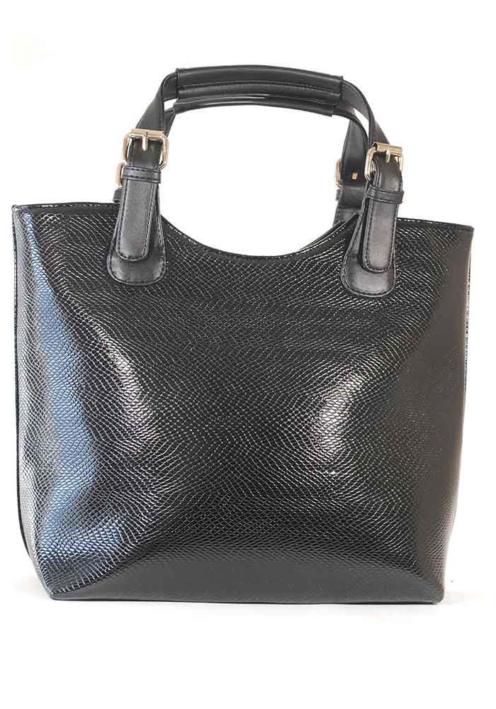 Женская сумка шопер черная лаковая 48-1253