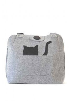 Фото Женская сумка из войлока с котом в кармане