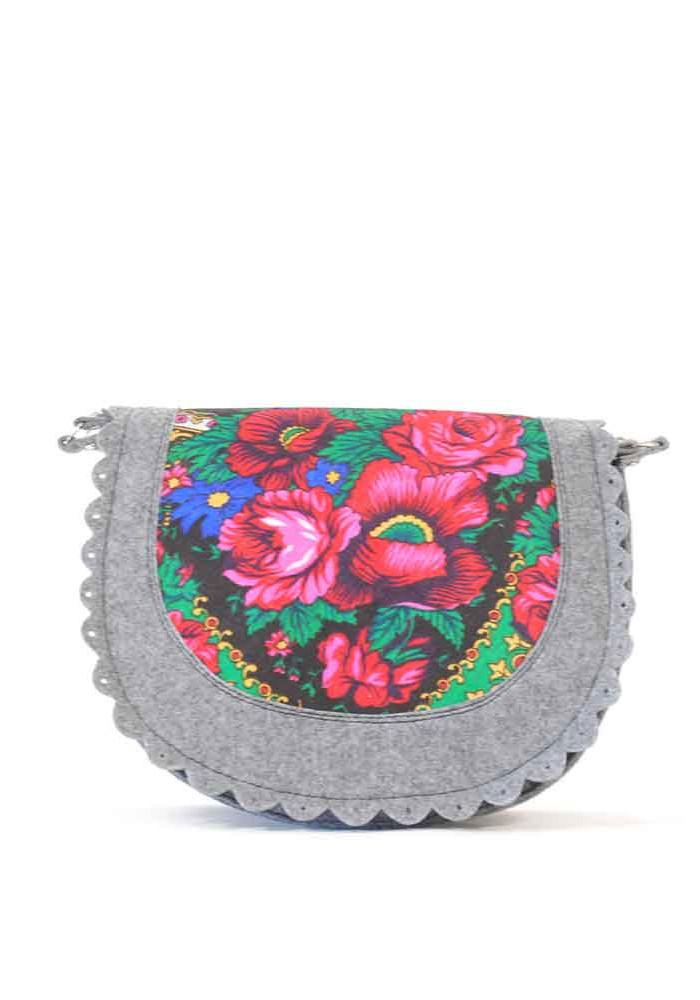 Серая женская сумка-клатч из войлока с цветами 220