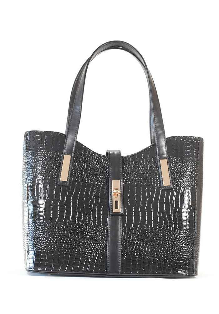 """Женская сумка """"Лодочка"""" кроко черного цвета 56-CROCO-BLK-LAK"""