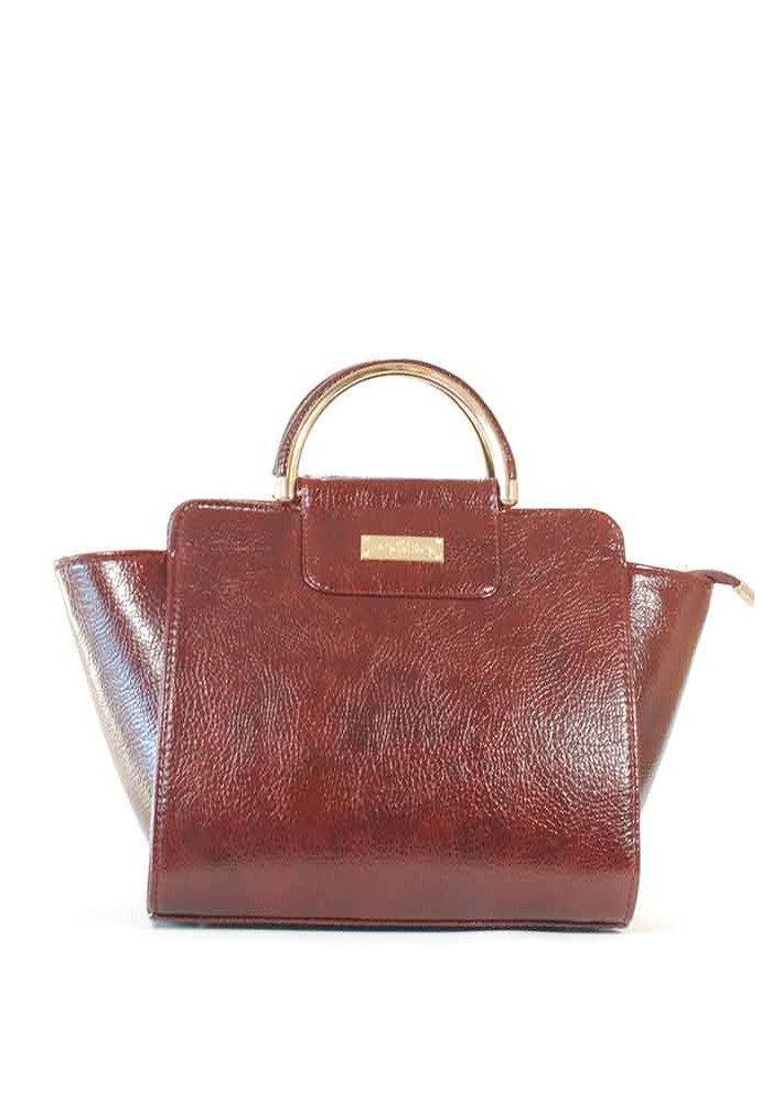Элегантная глянцевая бордовая женская сумка 500R-bordo