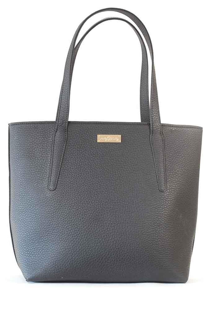 Черная матовая женская сумка с длинными ручками 61-P001