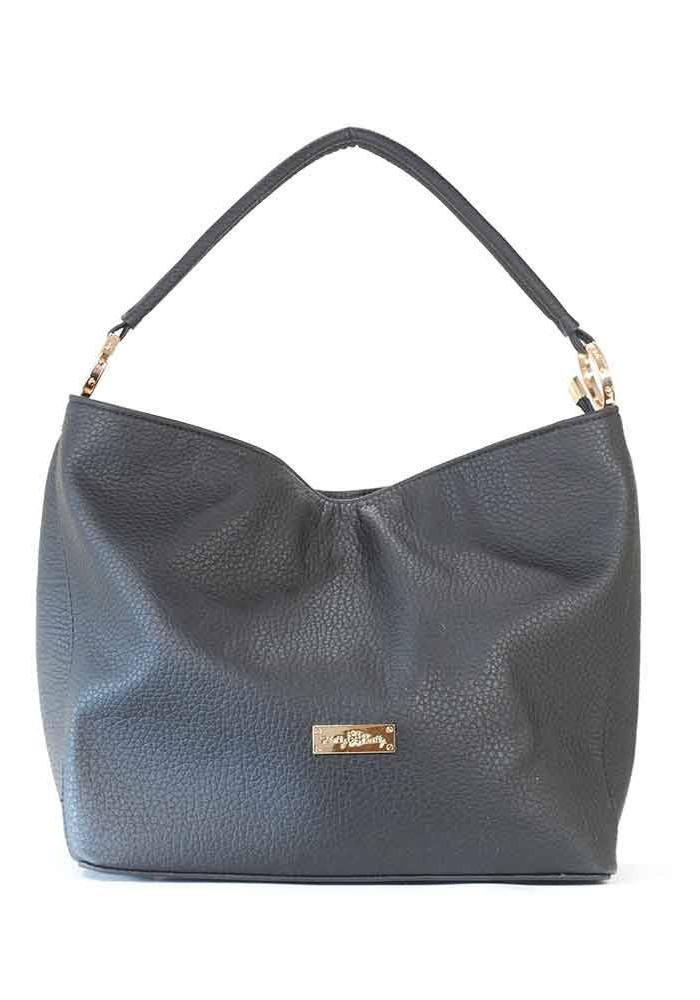 Мягкая черная матовая женская сумка 62-P001