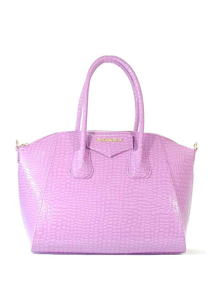 Сиреневая женская сумка 35-CROCO-S