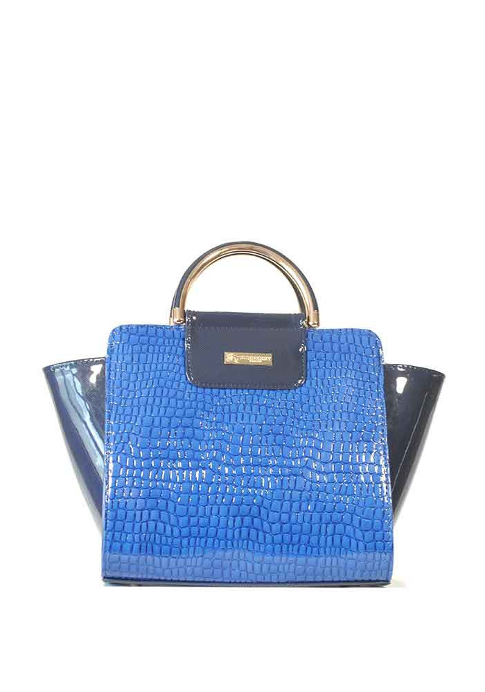 Элегантная лаковая синяя женская сумка 500R-1315