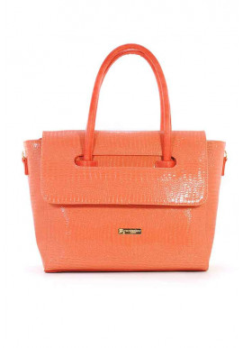 Фото Лаковая оранжевая женская сумка с клапаном 66-ORANGE