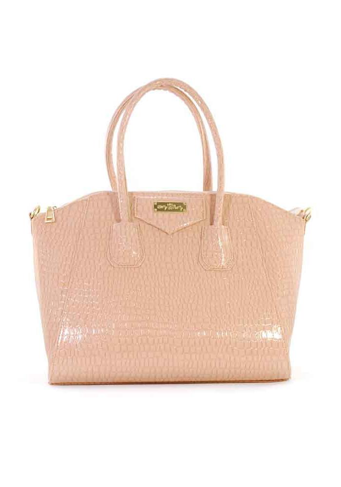 Пудровая женская лаковая сумка 35-1304