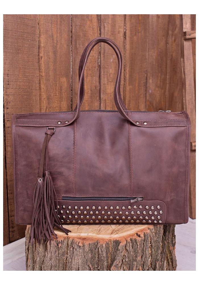 Коричневая матовая кожаная женская сумка Lev Lubinin 91375